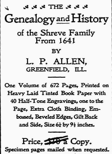 'Genealogy and History of the Shreve Family from 1641'